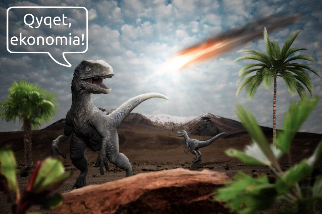 Meme: Dinosauri qan ekonominë, kur sheh meteorin tek godet Tokën.