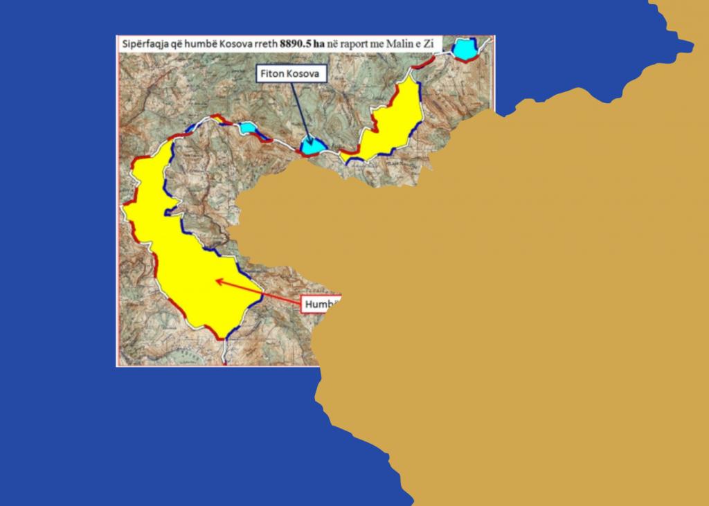 Kufini Kosovë-Mal i Zi, në hartë dhe flamur